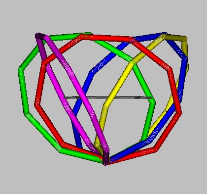 View of pentagonal configuration of nonagons in 3D